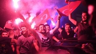 Crowds of supporters celebrating the victory of Ekrem Imamoglu in Istanbul's re-run mayoral race, 23 June 2019.