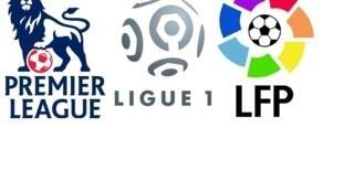 Logos de las ligas de Inglaterra, Francia y España.