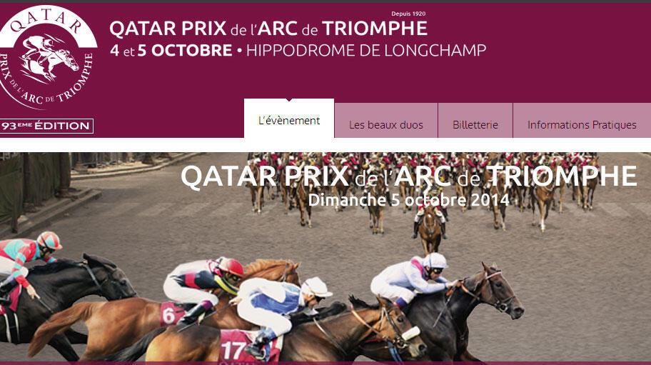La page d'accueil du site Qatar Prix de l'Arc de Triomphe.