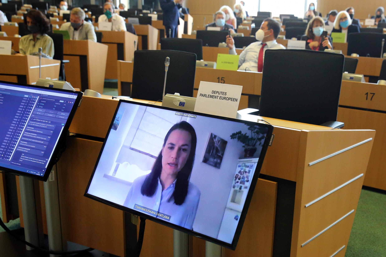 A opositora bielorrussa participou, por videoconferência de Vilnus, na Lituânia, de uma reunião especial organizada nesta terça-feira, 25 de agosto de 2020, pelo Parlamento Europeu sobre o movimento inédito de contestação em Belarrus.