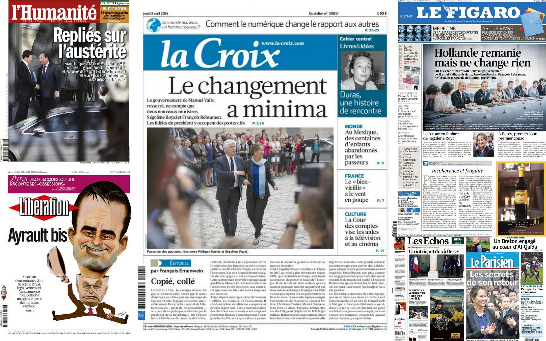 Capa dos jornais franceses La croix, Le Figaro, Le Parisien, L'Humanité, e Libération desta quinta-feira, 3 de abril.