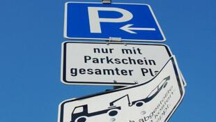 Placa de estacionamento na Alemanha