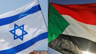 Bandeiras de Israel e do Sudão