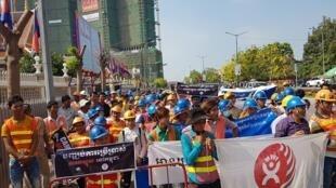 Manifestación de trabajadores en Camboya