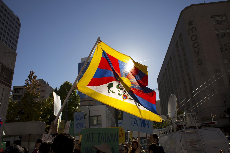 資料圖片:流亡藏人旗幟。