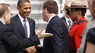 O presidente dos Estados Unidos, Barack Obama, chega ao Canadá para as reuniões do G8 e do G20.