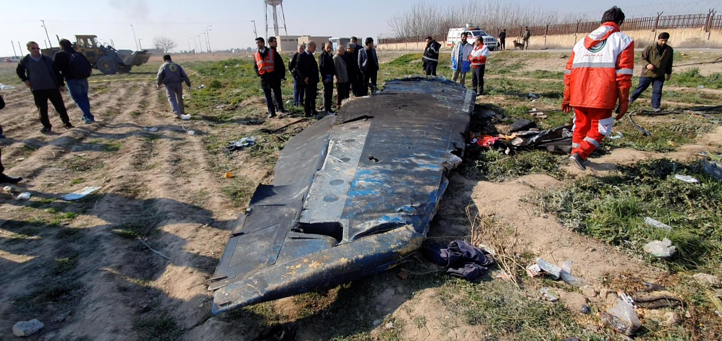 General view of the debris of the Ukraine International Airlines, flight PS752, Boeing 737-800 plane that crashed after take-off from Iran's Imam Khomeini airport, on the outskirts of Tehran, Iran January 8, 2020 is seen in this screen grab