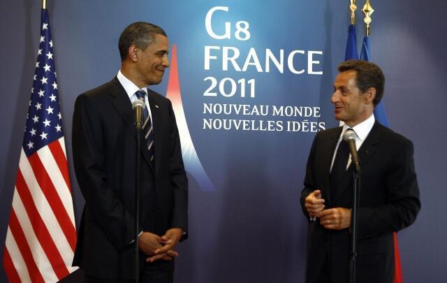 Shugaban Amurka Barrack Obama da takwaransa na Faransa Nicolas Sarkozy a taron G8 a  Deauville can arewacin Faransa