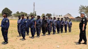 Mambasa, province de l'Ituri, RD Congo. Des policiers congolais en formation à la sécurisation des élections avec l'appui de la Monusco