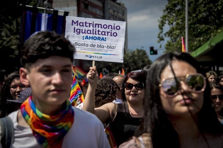 Manifestación a favor del matrimonio homosexual en noviembre de 2018 en Chile.