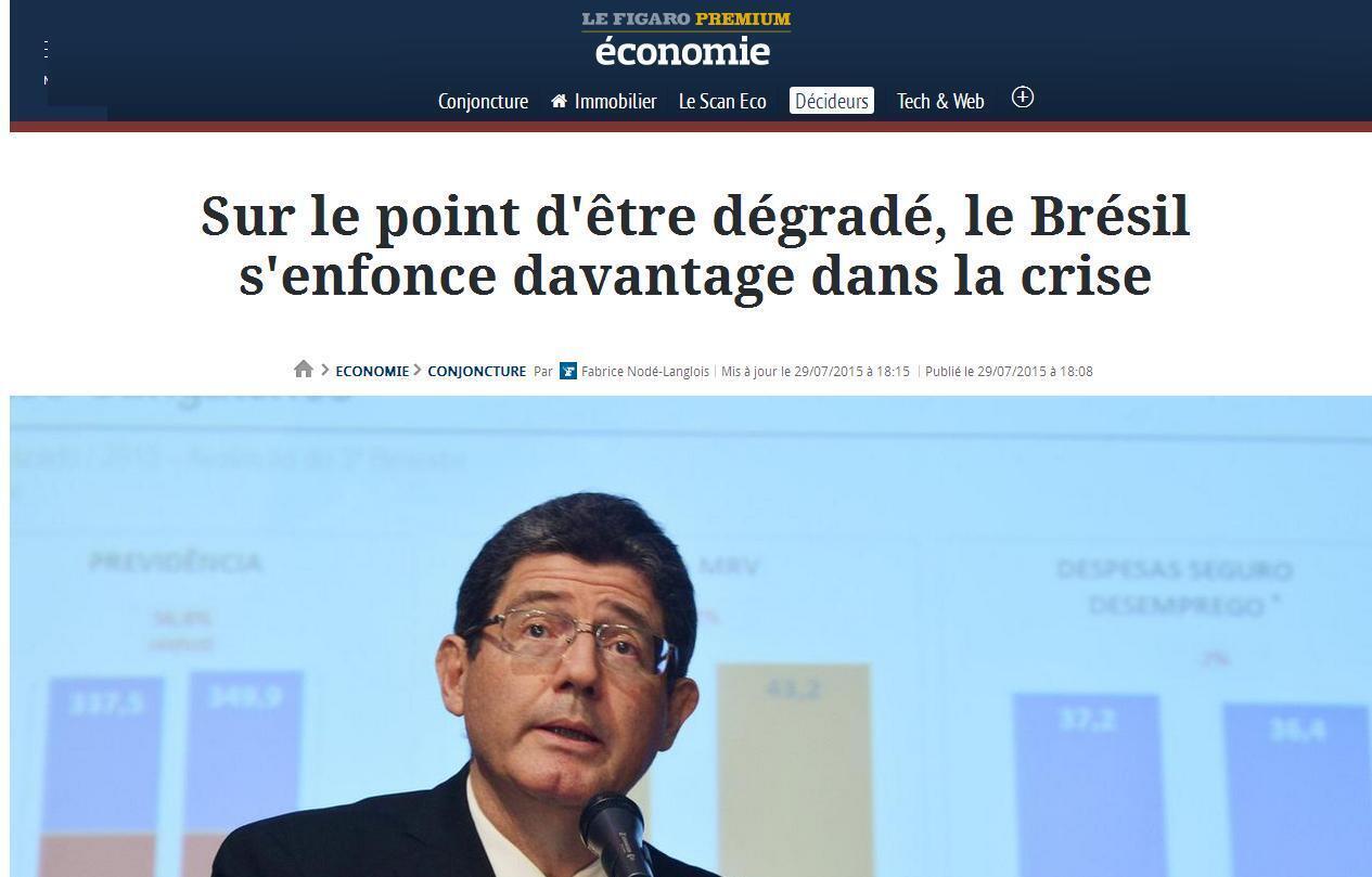 """""""Prestes a ter grau rabaixado, Brasil se afunda ainda mais na crise""""."""
