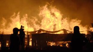 Incendio en una papelera cerca de Concepción, el 2 de enero de 2012.