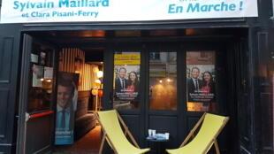 Le quartier général de campagne du député Sylvain Maillard à Paris.