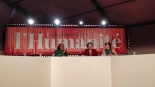 """A ex-presidente Dilma Rousseff durante o debate na """"Fête de l'Humanité"""" no Sábado 14 de Setembro 2019 nas imediações de Paris"""