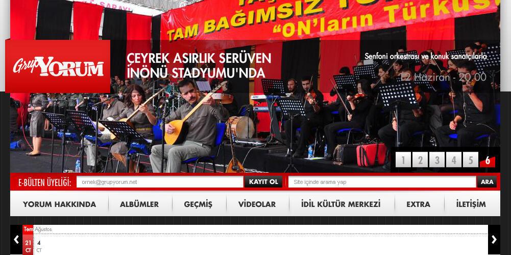 Capture d'écran du site de www.grupyorum.net. Grup Yorum. Yorum (« commentaire » en turc) est un groupe de musique créé en 1985 à İstanbul par des étudiants, dans le but de réagir au coup d'Etat militaire de 1980.