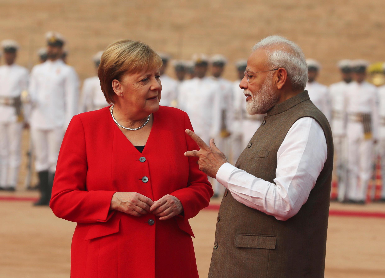دیدار صدراعظم آلمان، آنگلا مرکل با نارندرا مودی نخست وزیر هند در کاخ نخستوزیری. دهلی نو- جمعه ۱٠ آبان/ اول نوامبر ٢٠۱٩