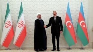 حسن روحانی رئیس جمهوری اسلام ایران در دیدار با الهام علیاف، رییس جمهوری آذربایجان