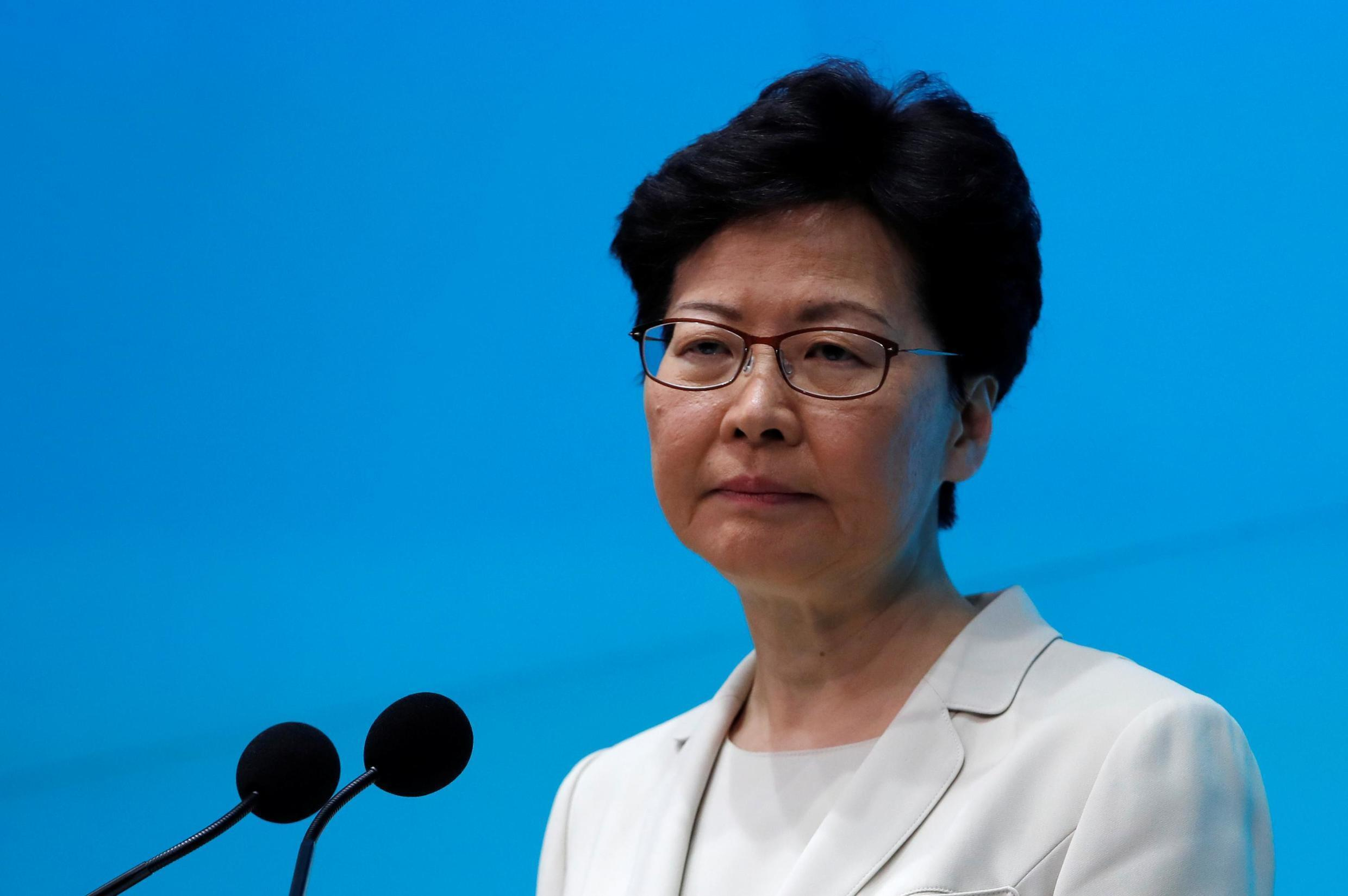 Hong Kong Chief Executive Carrie Lam attends a news conference in Hong Kong, China, 18 June 2019.