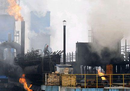La Chine est le premier pollueur au monde avec 25% des émissions de gaz à effet de serre. Ici, des usines à Changzhi, dans la province de Shanxi.