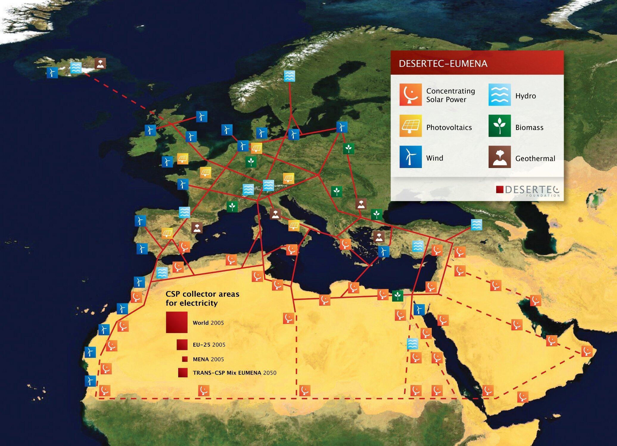 Les carrés rouges sont une estimation de l'espace nécessaire pour répondre aux besoins énergétiques actuels du monde, de l'Europe et de l'Allemagne, ainsi qu'à 2/3 de la consommation électrique de l'Afrique du Nord et  1/5 de l'UE en 2050.