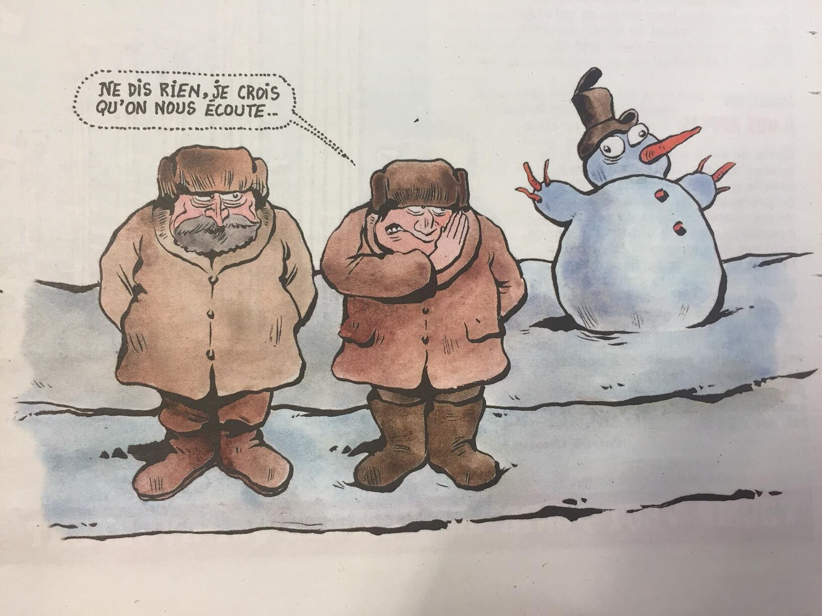 Иллюстрация к тексту Егора Грана в «Шарли Эбдо» от 6 апреля 2016 года: «Ничего не говори, мне кажется, нас слушают».