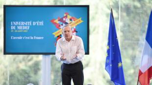 Le président du Medef Pierre Gattaz à l'université d'été du mouvement le 29 août 2017.