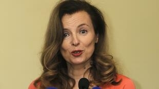 A ex-primeira dama francesa, Valerie Trierweiler durante coletiva na Índia em 27 de janeiro de 2014.