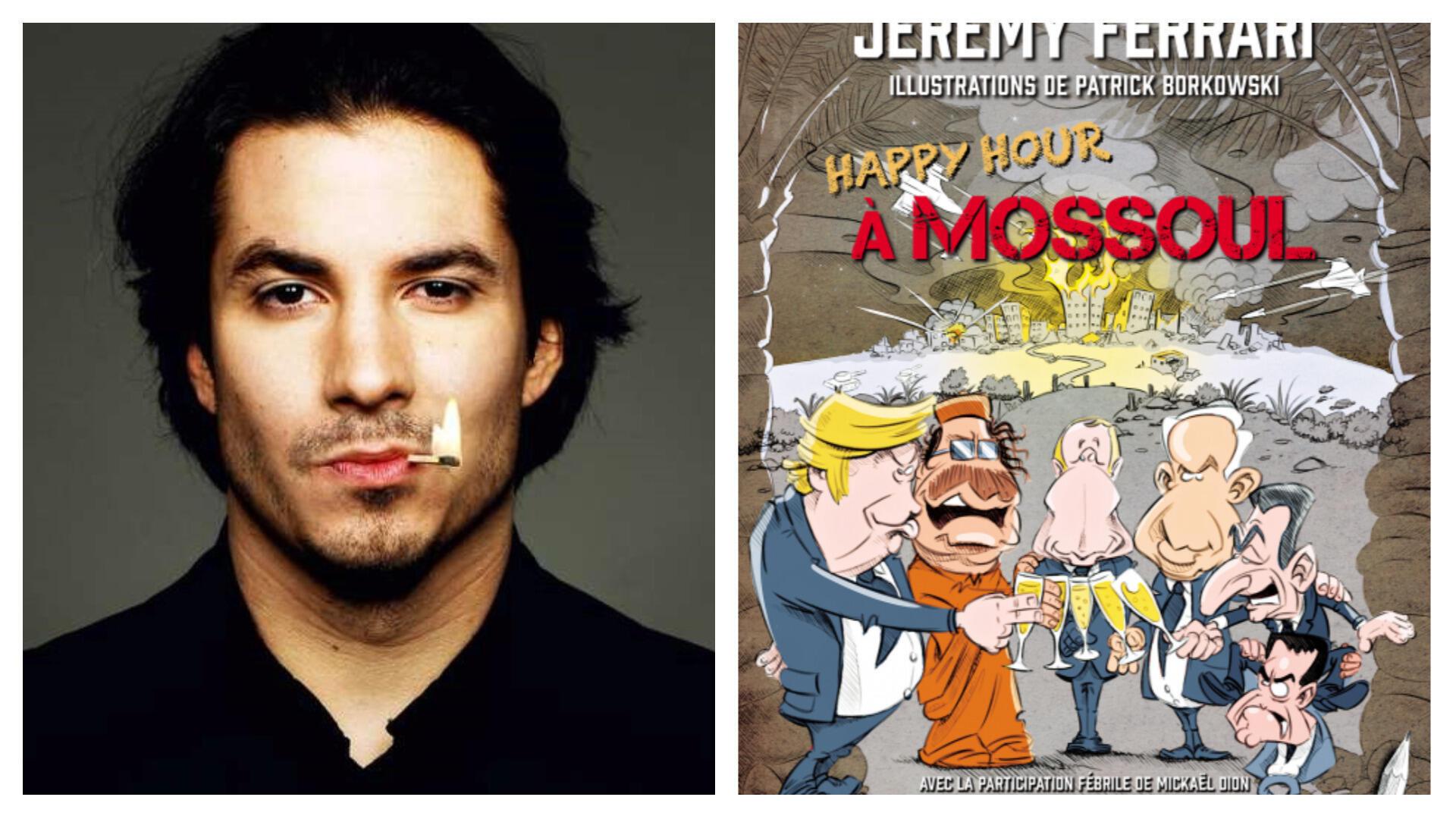 A gauche, le portrait de l'humoriste Jeremy Ferrari ; à droite, couverture de son nouveau livre.