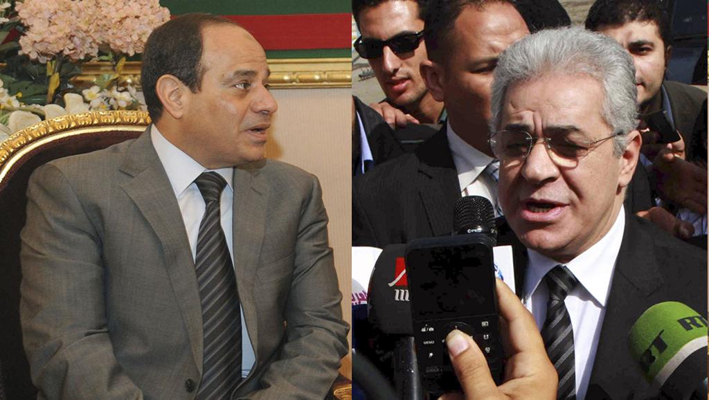 حمدین صباحی ( راست) و فتاح السیسی ( چپ) دو نامزد انتخابات مصر