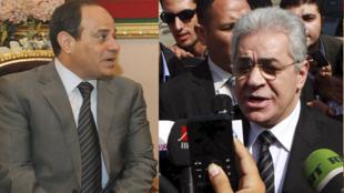 បេក្ខជន Abdel Fattah al-Sissi (រូបឆ្វេង) និងបេក្ខជន Hamdine Sabahi នាការបោះឆ្នោតប្រធានាធិបតីអេហ្ស៊ីប