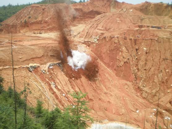 中國江西的稀土採礦點