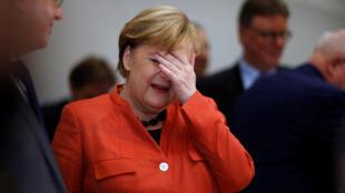 Shugabar Gwamnatin Jamus Angela Merkel yayin da ta halarci taro tattaunawa tsakanin jam'iyyarta ta CDU da ta ke jagoranta da kuma jam'iyyar CSU a Bundestag da ke birnin Berlin. 20 ga Nuwamba, 20, 2017.