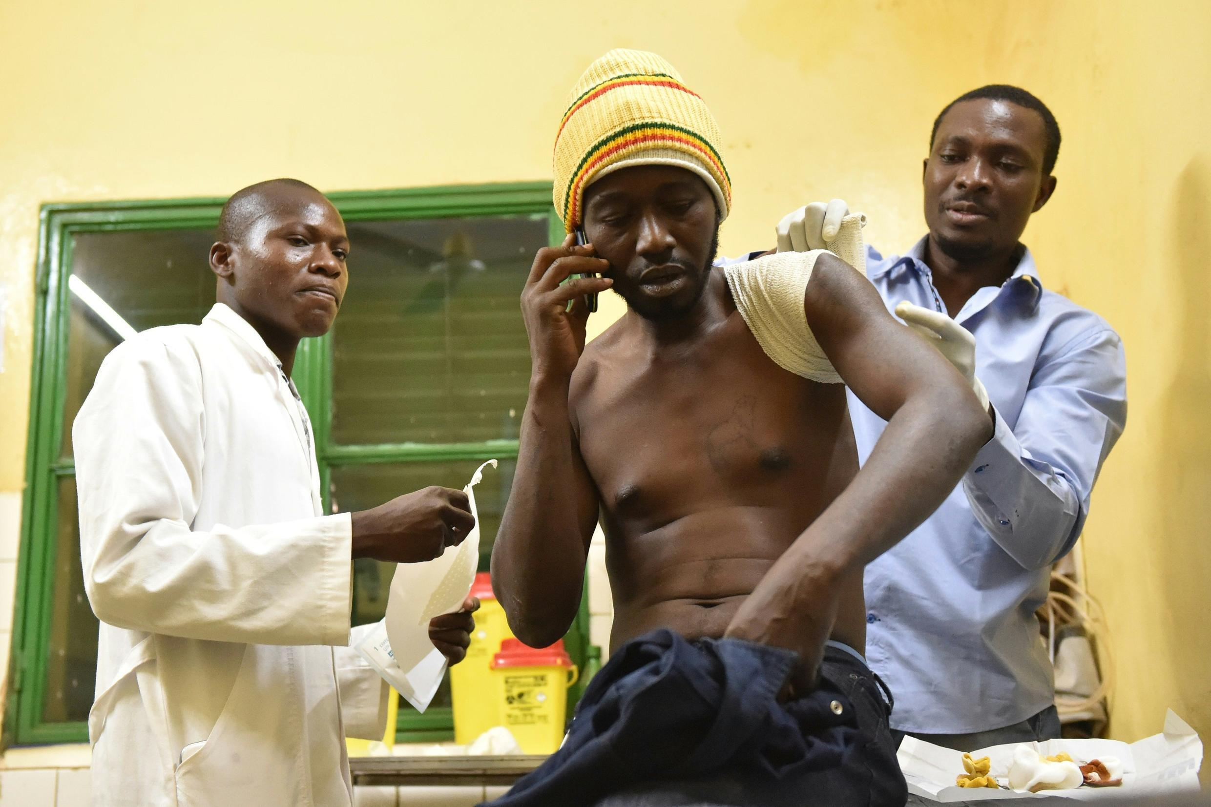 One of the wounded being cared for in Ouagadougou's Yagaldo Ouédraogo on 16 January 2016
