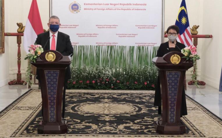 馬來西亞與印度尼西亞外長聯合記者會資料圖片