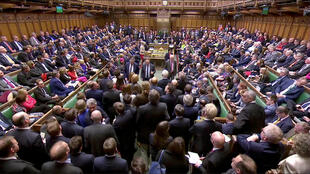 Parlamentares rejeitam o acordo de retirada do Reino Unido da UE no Parlamento em Londres, Grã-Bretanha, 29 de março de 2019