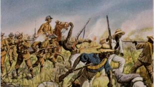 Les troupes allemandes combattant les Héréros (1904), peinture de Richard Knötel (1857-1914), reproduite dans un ouvrage de 1936.