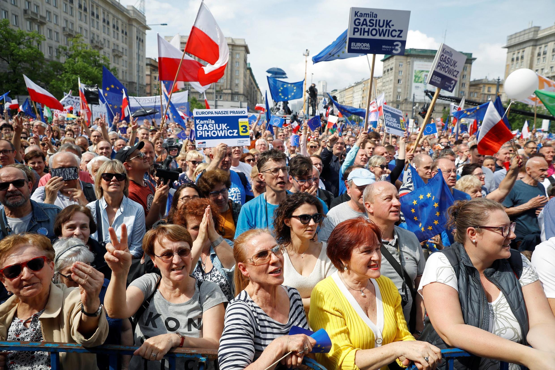Biểu tình vì « Ba Lan trong Liên Hiệp Châu Âu » tại Vacxava ngày 18/05/2019.