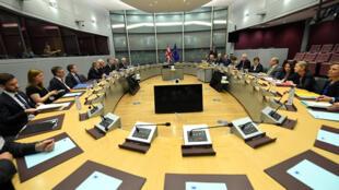 Cảnh cuộc đàm phán đầu tiên giữa Anh Quốc và Liên Hiệp Châu Âu về Brexit, tại Bruxelles, ngày 19/06/2017.