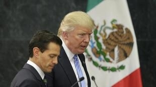 Donald Trump e Enrique Peña Nieto, na  Cidade do México, a 31 de Agosto de 2016.