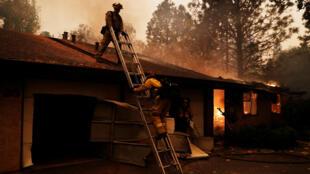 Des pompiers californiens luttent contre le feu à Paradise, en Californie, le 9 novembre 2018.