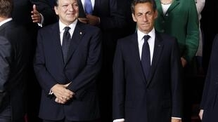 European Commission president Jose Manuel Barroso (left) with French president Nicolas Sarkozy (right) at the EU summit.