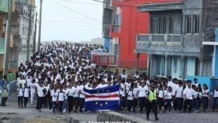 Marcha em memória de Giovani Rodrigues. Cidade de Mosteiros, Ilha do Fogo, Cabo Verde. 11 de Janeiro de 2020.
