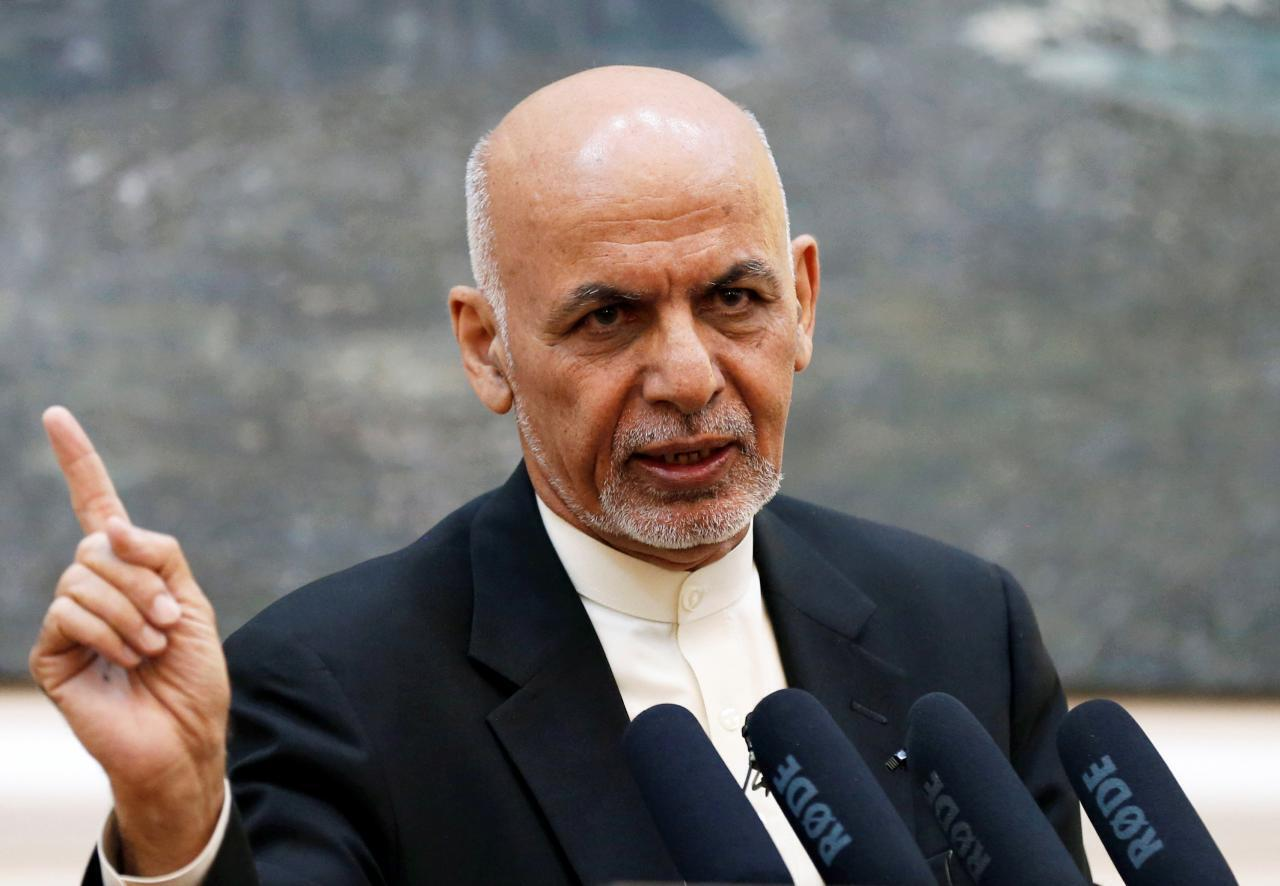Le président Ashraf Ghani lors d'une conférence de presse à Kaboul, le 15 juillet 2018.