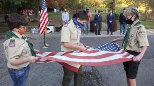 Escoteiros durante cerimônia em outubro de 2020 nos Estados Unidos (imagem ilustrativa)