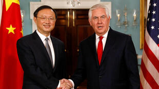 中國國務委員楊潔篪與美國國務卿蒂勒森資料圖片