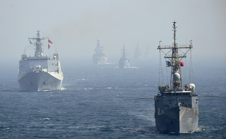 Chiến hạm Trung Quốc tập trận trên vùng biển Ả Rập gần Pakistan, ngày 11/02/2019.