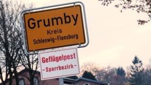 Devant le panneau de signalisation de la ville de Grumby, en Allemagne avec en avertissement : « Zone de limite de la grippe aviaire »