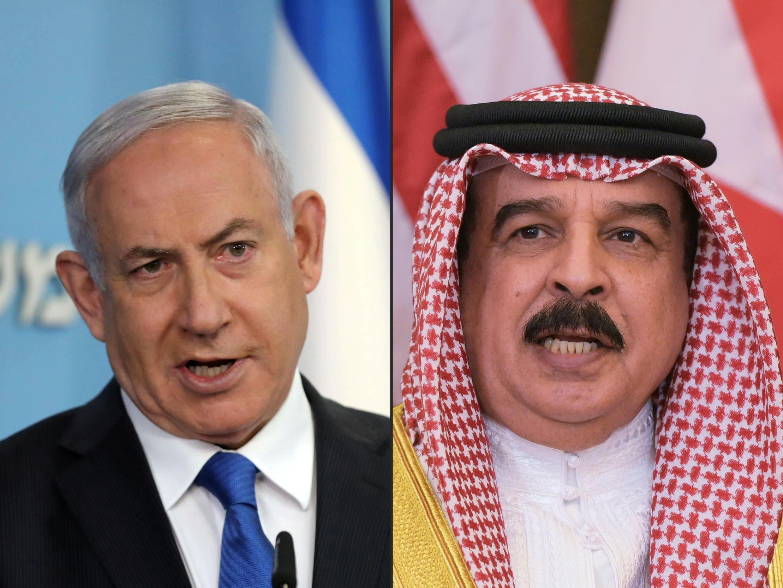 بنامین نتانیاهو، نخست وزیر اسرائیل و حمد بن عیسی آل خلیفه پادشاه بحرین