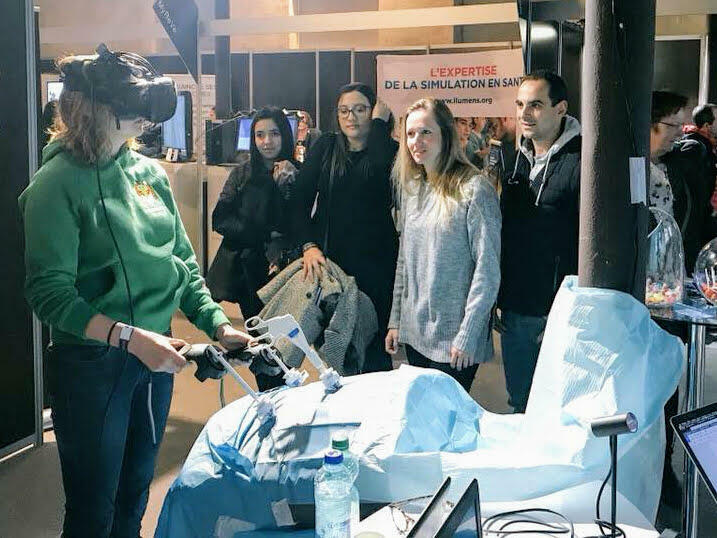 A visitor to the Virtuality expo tries out a virtual bariatric surgery developed by 3Prime