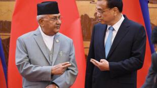图为尼泊尔总理奥利2018年6月21日于北京会见中国总理李克强